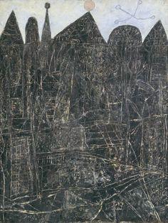 Jean Dubuffet - Large Black Landscape, 1946. Oil paint on hardboard.