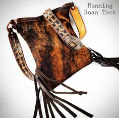 Dark Brindle Cowhide Cross Body Handbag with Fringe and Aztec Strap by Running Roan Tack