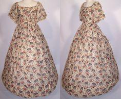 1830's Wool Print Dress