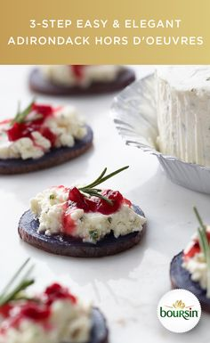 Adirondack potatoes topped with Boursin cheese and cranberry compote. Your guests will be impressed with their beauty and taste. You will be impressed with how easy they are to make. Simply bake and slice the Adirondack potatoes, then spread Boursin cheese on each slice. Finish with a drizzle of cranberry compote, and prepare to wow.