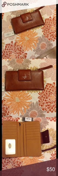 ✨LEATHER WALLET✨ Brown leather thin flap button closure wallet has 13 CC slots, and 4 slide pockets to got cash, checkbook, receipts, and coupon's.  Back of wallet has coin pocket with zipper closure.  Hardware is silver.  Brand new with tag's.  Smoke free home. Fossil Bags Wallets