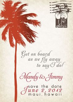 Tropical theme palm tree & flower stamp travel by bluemarket, $25.00