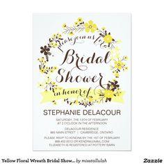 Yellow Floral Wreath Bridal Shower Invitation