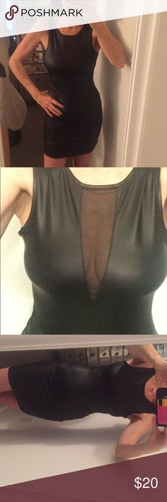 Faux Leather Mini Dress Black sexy vegan leather. Body hugging. Netting in front   Never worn. Fits size small. freckles Dresses Mini