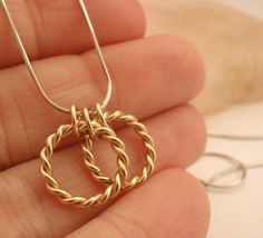 Sterling Silver Argentium Necklace With 14kt Gold by unkamengifts, $40.00