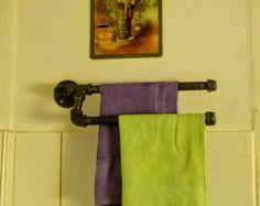Industrial design towel rack Bathroom towel by SilverBeardLampCo