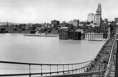 April 17, 1948: A view of Cincinnati & a flooded Ohio River taken from the Suspension Bridge. Enquirer/Ran Cochran
