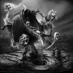Interview with Macabre Artist from Finland Tero Porthan Arte Horror, Horror Art, Grim Reaper Art, Evil Tattoos, Reaper Tattoo, Totenkopf Tattoos, Skull Artwork, Dark Art Drawings, Creepy Art