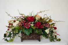 Silk Floral Arrangements with Roses and by EssentialSilkDecor