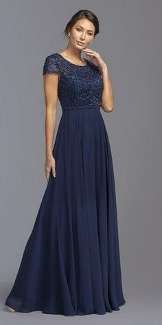 Scoop Neck Beaded Bodice Long Formal Dress Navy Blue - Source by rockmann - Long Mothers Dress, Mother Of The Bride Dresses Long, Mother Of Bride Outfits, Mothers Dresses, Grooms Mother Dresses, Mob Dresses, Bridesmaid Dresses, Formal Dresses, Wedding Dresses