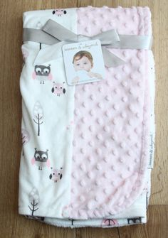 Blankets & Beyond Soft Baby Girl Blanket ~ Owls ~ Pink, White & Gray ~ #Blankets&Beyond #BabyGirl #Owls