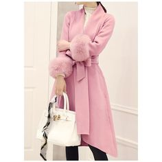Rotita Asymmetric Hem Belted Pink Faux Fur Cuff Coat found on Polyvore featuring polyvore, women's fashion, clothing, outerwear, coats, pink, imitation fur coats, long coat, long pink coat and pink coat