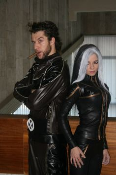 Great Wolverine and Rogue X-men movie cosplay.  He could pass for Hugh Jackman