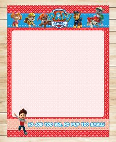 Free Paw Patrol Printables: Free Printable Paw Patrol Birthday Stationery | Red BG Theme
