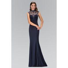 Elizabeth K GL1383X Open Back High Neck Jewel Embellished Illusion... ($198) ❤ liked on Polyvore featuring dresses, gowns, open back gown, open back dresses, navy evening gown, navy blue gown and navy dress
