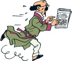 Professeur Tournesol court. Il a un journal dans la main.
