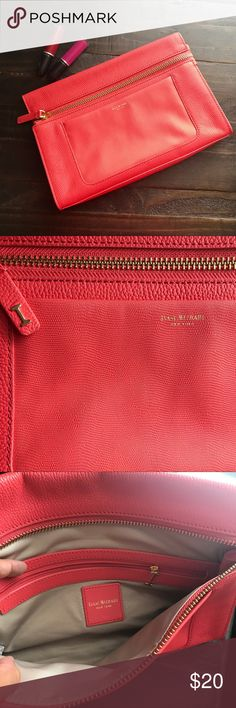 Isaac Mizrahi Bright Coral Clutch Perfect condition. No issues. Fits everything , iPhone 7 plus all other essentials. Isaac Mizrahi Bags Clutches & Wristlets