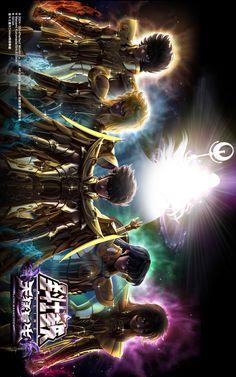 Ikky, Hyoga, Seiya, Shiryu e Shun com Armaduras de Ouro