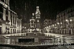 Nevando en Alcoy. Plaza de España