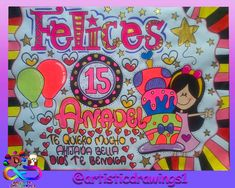 Pancarta de cumpleaños!! Para una bella quinceañera!! Todas nuestras pancartas son hechas a mano! Whatsapp: 0414-9758612 #quince #pancarta #pancartasartisticdrawings #cumpleaños #quinceañera #hechoamano Ideas Para, Bff, Lettering, School, Birthday, Creative, Gifts, Sentences, Banner Design