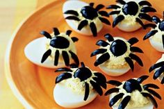 New Ideas | Spooky spider eggs. Too bad Jess hates black olives.