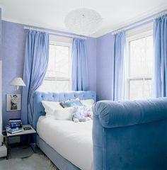 a velvet upholstered bed completes a 14 year old's dream bedroom Periwinkle Bedroom, Blue Bedroom, Trendy Bedroom, Bedroom Colors, Dream Bedroom, Bedroom Decor, Periwinkle Blue, Bedroom Boys, Bedroom Ideas