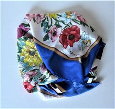 Vintage Gucci Floral Silk Scarf Handrolled by jewelryandthings2