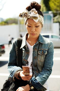 head wrap  denim jacket