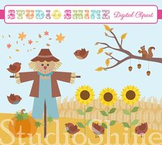 Digital Clipart - Festive Fields - Cute Clip art for scrapbooking, cupcake toppers, labels, - Instant Download Clipart Commercial Use