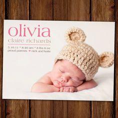 Photo Birth Announcement Baby Announcement by ScriptivaPaper, $15.00