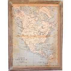 Add worldly appeal to your study or den with this wood-framed print, showcasing a North America map design for wayfaring style.   Pr...