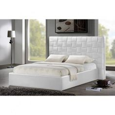 White-Modern-Bed-Queen-Size-Faux-Leather-Headboard-Frame-Footboard-Contemporary