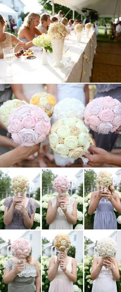 DIY Fabric Rosette Accessories  TOTALLY cute idea to have bridesmaids keep bouquet maybe even use a flower from the bouquet for their daughters hair afterwards =)