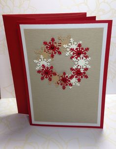 Textured Cardstock Snowflake Christmas Card by MyPaperFrog on Etsy