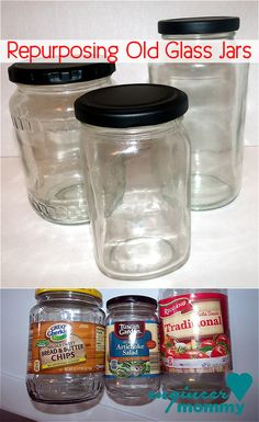 15 creative new ways to use mason jars is part of Upcycled Crafts Awesome Mason Jars - 15 creative new ways to use mason jars features various ideas and tips to use mason jars and other random glass jars and glass bottles Crafts With Glass Jars, Glass Jars With Lids, Bottles And Jars, Glass Bottles, Cheap Glass Jars, Pill Bottles, Empty Bottles, Reuse Jars, Reuse Containers