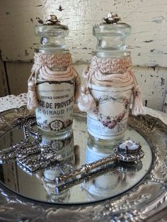 PAIR Of Embellished French Apothecary Bottles by shabbychatue