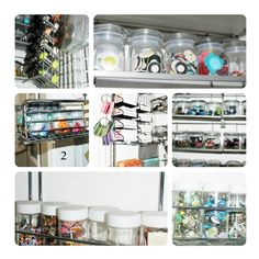 Tons of Small Space Organization ideas! (Buttons in small jars in coffee pod display, hanging ribbons, etc.)