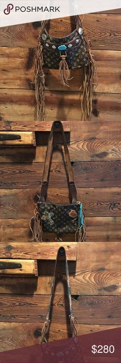 Revamped Faux LV Revamped Louis Vuitton! I love love love this purse just don't use it as much as I thought! So much detail! The tooled belt strap is my favorite! Bags Shoulder Bags