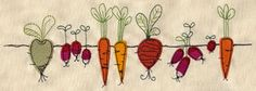 Harvest time -   Colorful veggies are lined up in the ground Harvest time - Multi colors  Flour Sack Dish Towels 100% cotton Quality heavy weight towel. Hemmed on all sides 28 in x 29 in.  Design is Machine embroidered on center edge on one side design measures 6 x 2
