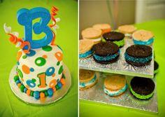Blue Orange and Green First Birthday