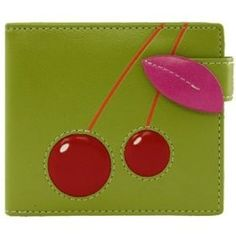 Espe Crimson Small Green Vegan Wallet (cherries)