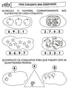 Atividades variadas de matemática indicadas a alunos do 1º ano.