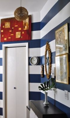 striped walls... I'm gonna do this on one of my walls except the whites just gonna be a very light blue