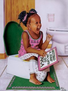 Alpha Kappa Alpha Forever by Alan Hicks is a work of art illustrating a young African-American girl in a AKA outfit sitting on a potty with a book about being an AKA in her hands. Aka Sorority, Alpha Kappa Alpha Sorority, Sorority Life, Black Is Beautiful, Pretty In Pink, Pretty Girls, African American Girl, American Art, Alpha Art