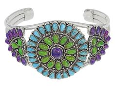 Southwest Style By Jtv(Tm) Cabochon Purple, Green, And Blue Turquoise