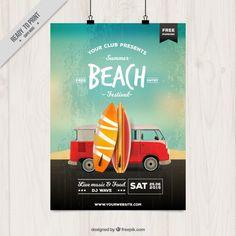 poster festa na praia com pranchas de surf Vetor grátis