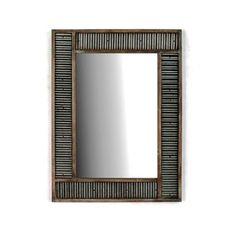 Smokey Cabin Corrugated Tin with Wood Frame Wall Mirror by Wayfair