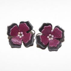 Leather Flower Earrings. $13.00, via Etsy.