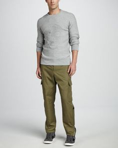 Textured Skull Sweater & Cargo Pants by Alexander McQueen at Neiman Marcus.