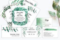 Eucalyptus Wedding Invitation / Green Wedding Invitations with Foliage {affiliate}